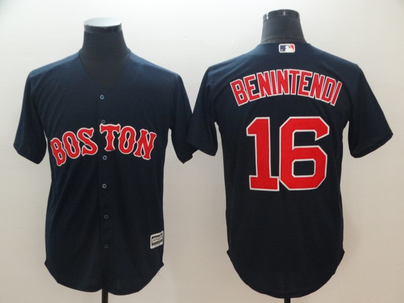 Red Sox 16 Andrew Benintendi Navy Cool Base Jersey