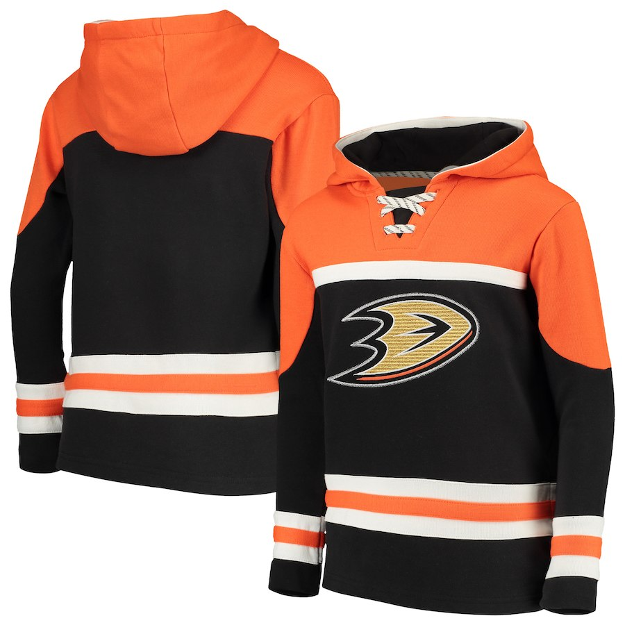 Anaheim Ducks Black Men's Customized All Stitched Hooded Sweatshirt