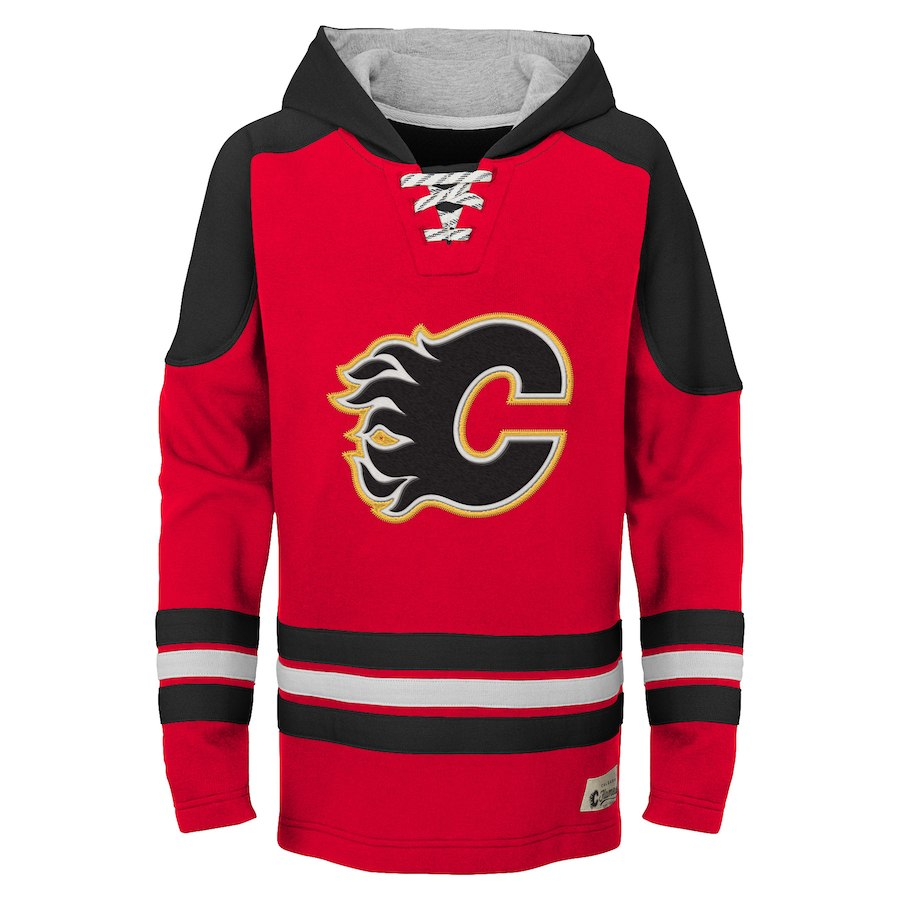 Calgary Flames Red Men's Customized All Stitched Hooded Sweatshirt
