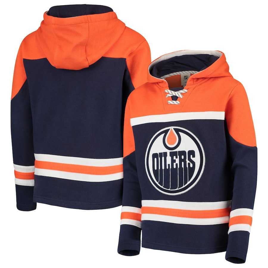 Edmonton Oilers Navy Men's Customized All Stitched Hooded Sweatshirt
