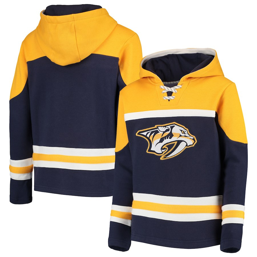 Nashville Predators Navy Men's Customized All Stitched Hooded Sweatshirt