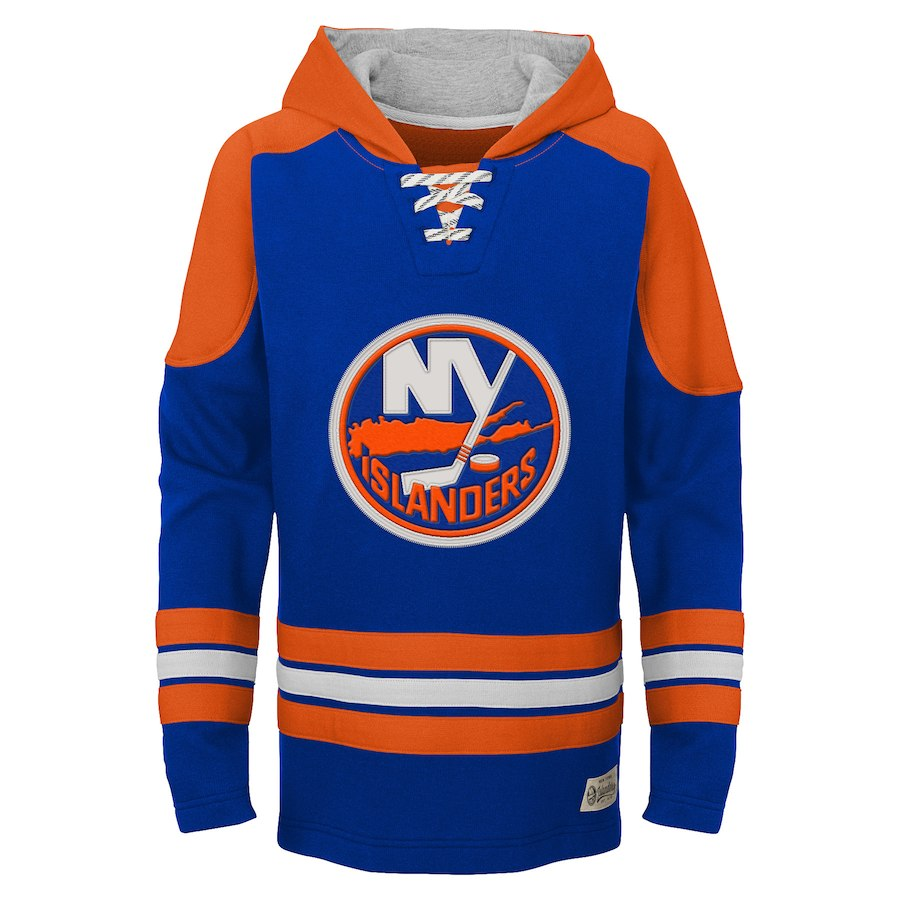 New York Islanders Blue Classic Men's Customized All Stitched Hooded Sweatshirt