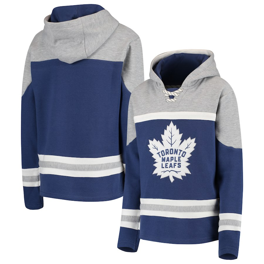 Toronto Maple Leafs Blue Men's Customized All Stitched Hooded Sweatshirt