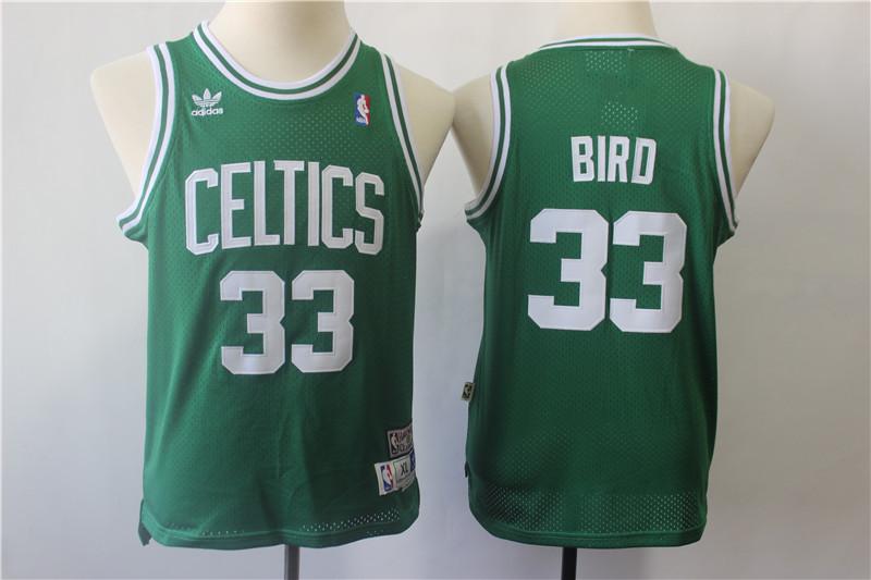 Celtics 33 Larry Bird Green Youth Hardwood Classics Jersey