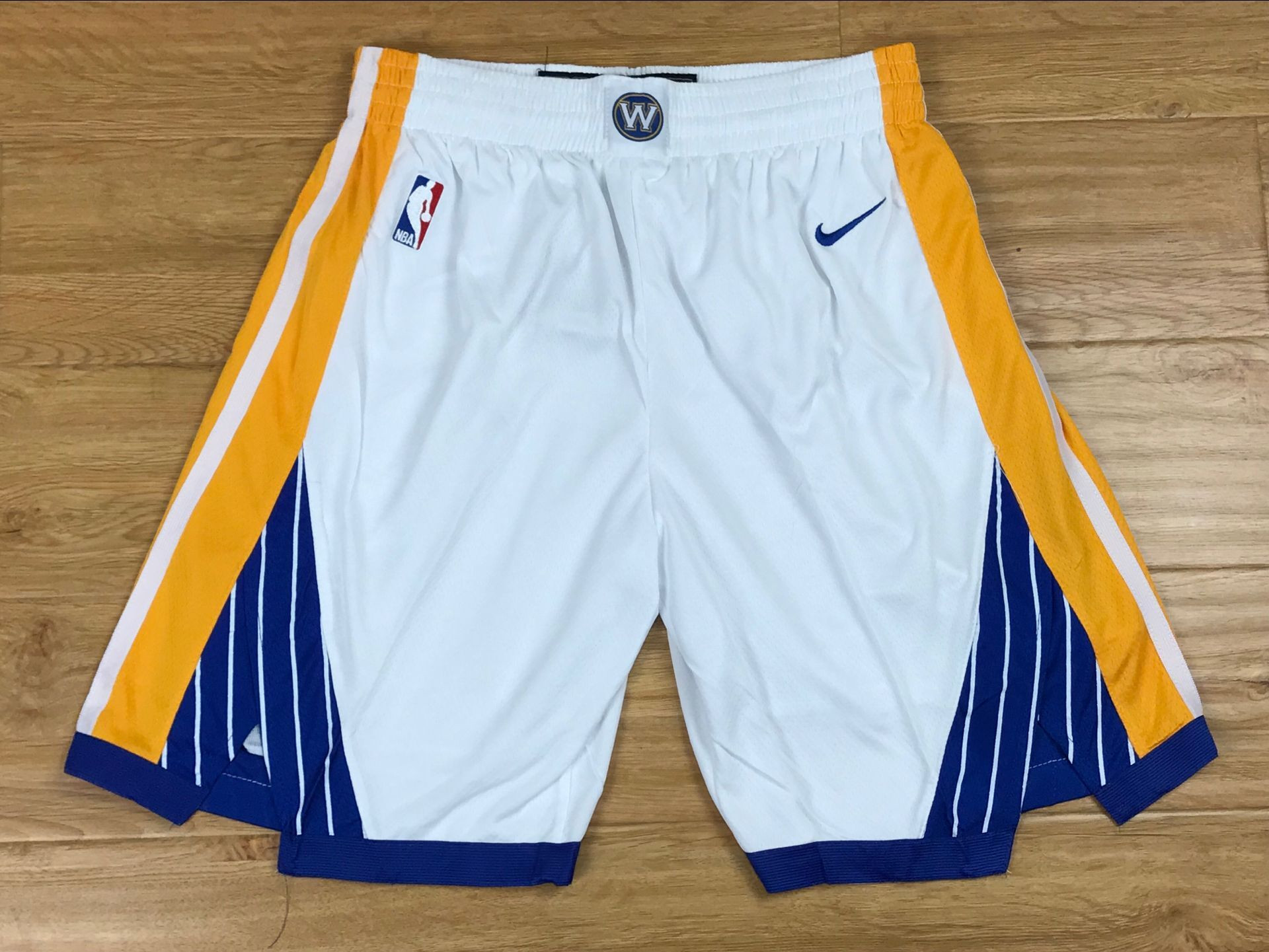 Warriors White Nike Swingman Shorts