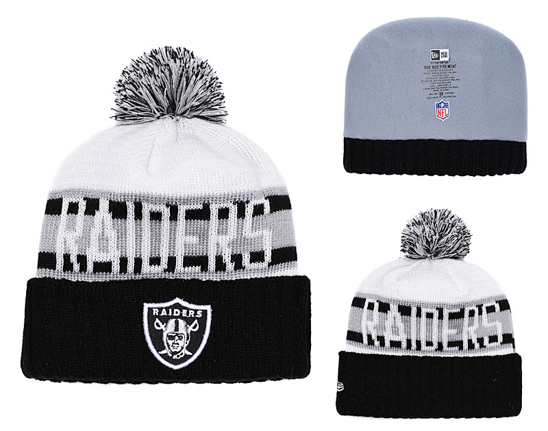3495d90d366 Raiders Team Logo Black Retro Cuffed Pom Knit Hat YD