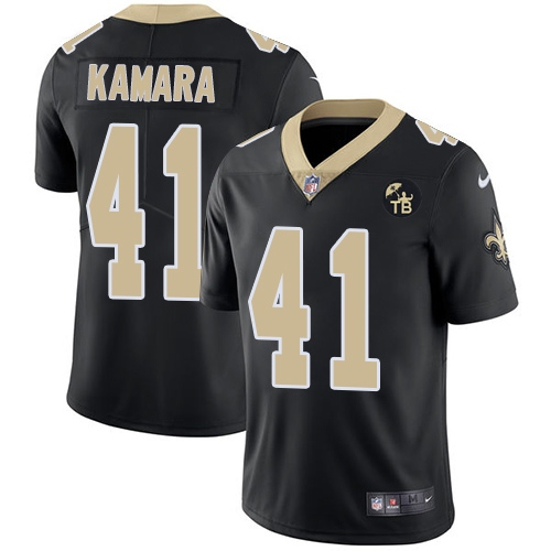 Nike Saints 41 Alvin Kamara White Black Youth With Tom Benson Patch Vapor Untouchable Limited Jersey