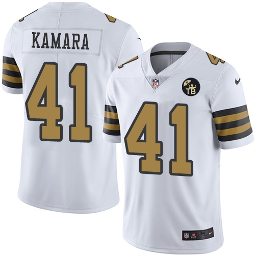 Nike Saints 41 Alvin Kamara White Youth With Tom Benson Patch Color Rush Limited Jersey