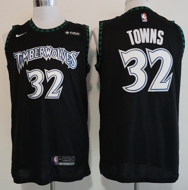 Timberwolves 32 Karl-Anthony Towns Black Nike Hardwood Classics Swingman Jersey