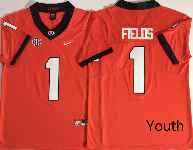 Georgia Bulldogs 1 Justin Fields Red Youth Nike College Football Jersey