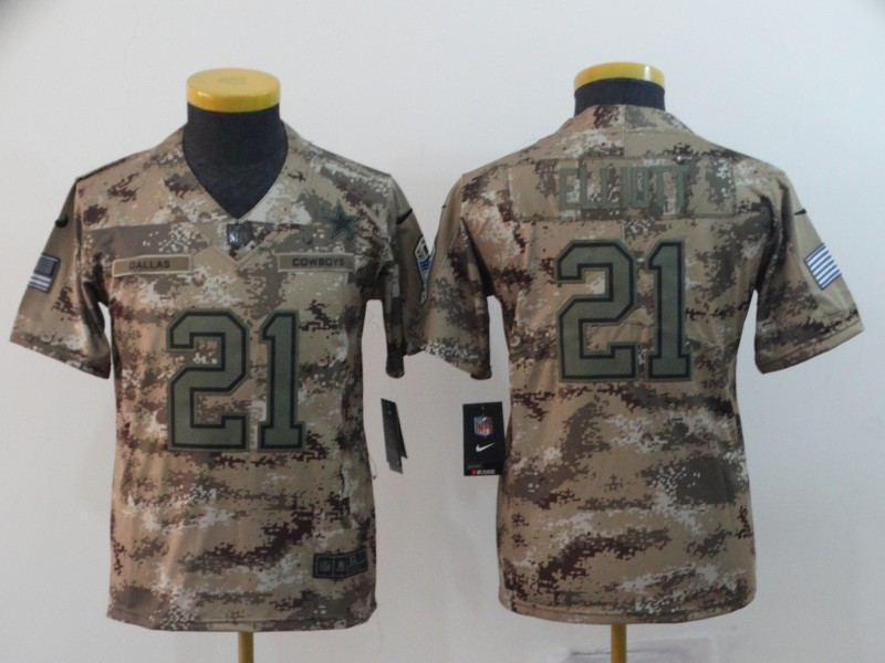 Nike Cowboys 21 Ezekiel Elliott Camo Youth Salute To Service Limited Jersey