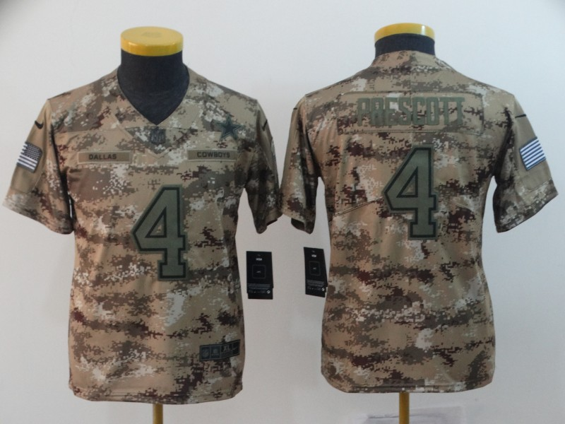 Nike Cowboys 4 Dak Prescott Camo Youth Salute To Service Limited Jersey