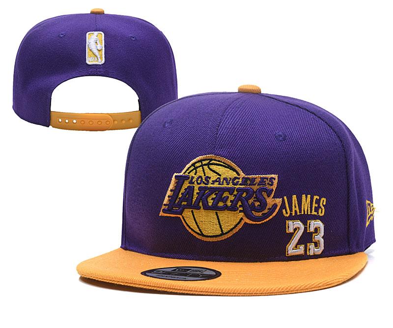 Lakers 23 Lebron James Purple Adjustable Hat YD