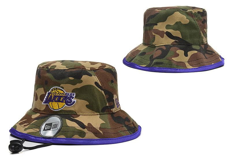 Lakers Fresh Logo Camo Wide Brim Adjustable Hat YD