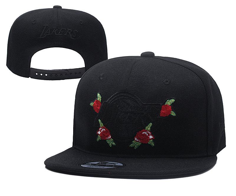 Lakers Rose Logo Black Adjustable Hat YD