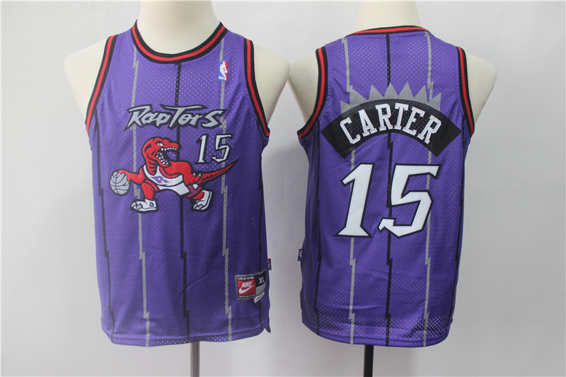 Raptors 15 Vince Carter Purple Youth Swingman Jersey