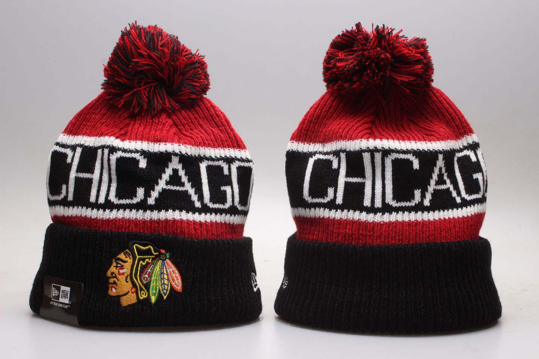 Blackhawks Fresh Logo Black Cuffed Pom Knit Hat YP