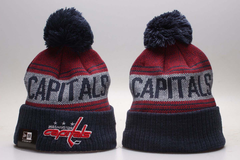 Capitals Fresh Logo Navy Cuffed Pom Knit Hat YP