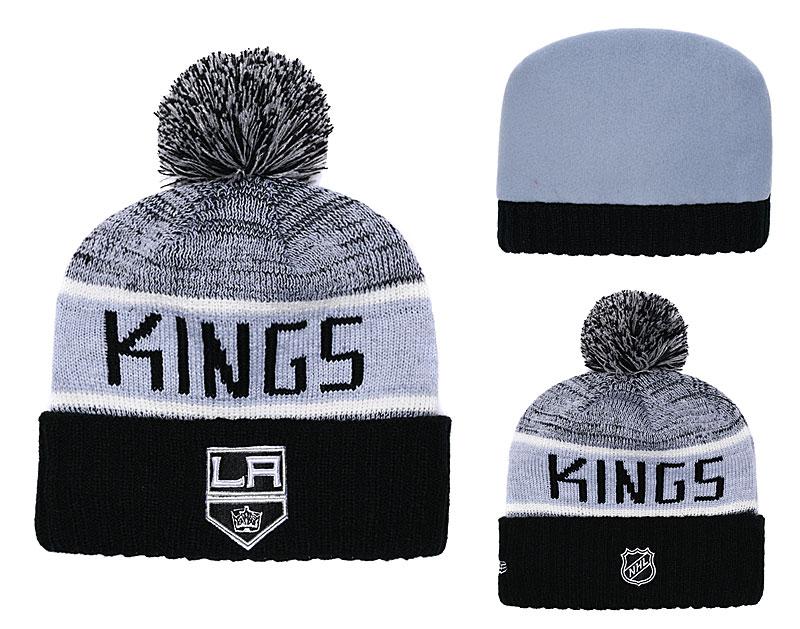 d7c690e5e7c LA Kings Fresh Logo Black Cuffed Knit Hat With Pom YD
