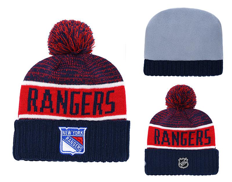 2f195c5e181 NY Rangers Navy Rinkside Goalie Cuffed Pom Knit Hat YD