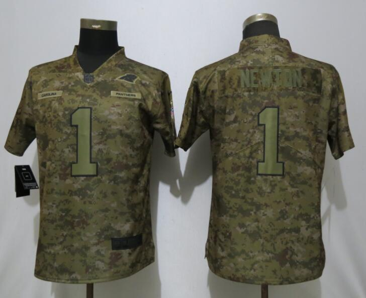 Nike Panthers 1 Cam Newton Camo Women Salute To Service Limited Jersey