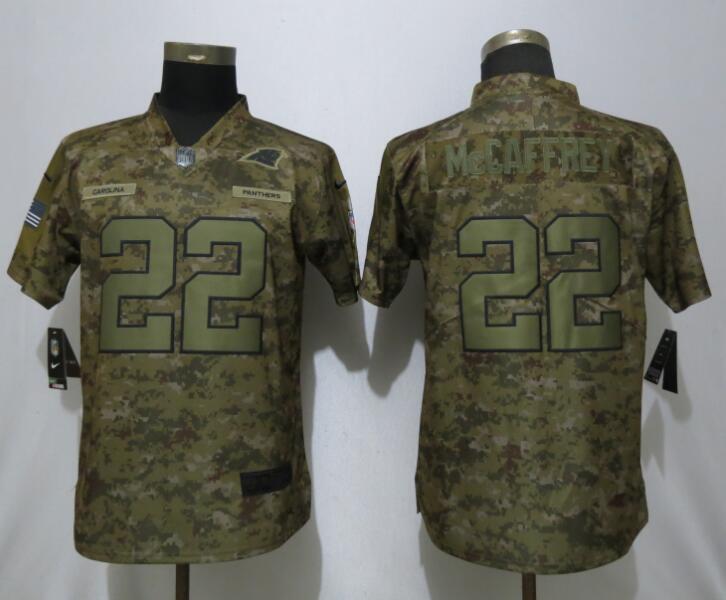 Nike Panthers 22 Christian McCaffrey Camo Women Salute To Service Limited Jersey