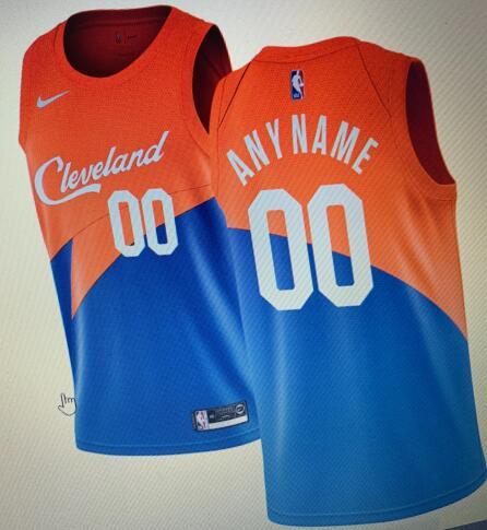 Cleveland Cavaliers Blue Orange Men's Customize Nike Swingman Jersey