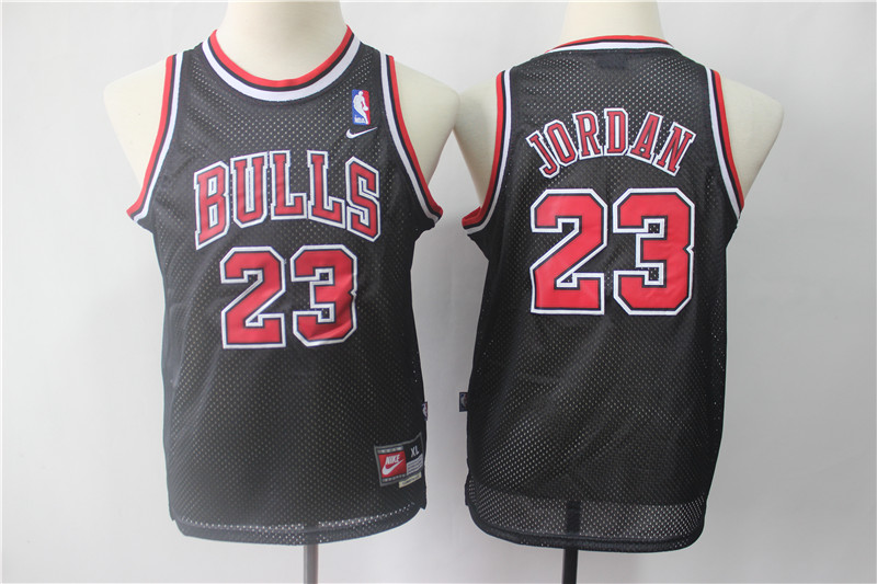 Bulls 23 Michael Jordan Black Youth Throwback Nike Swingman Jersey