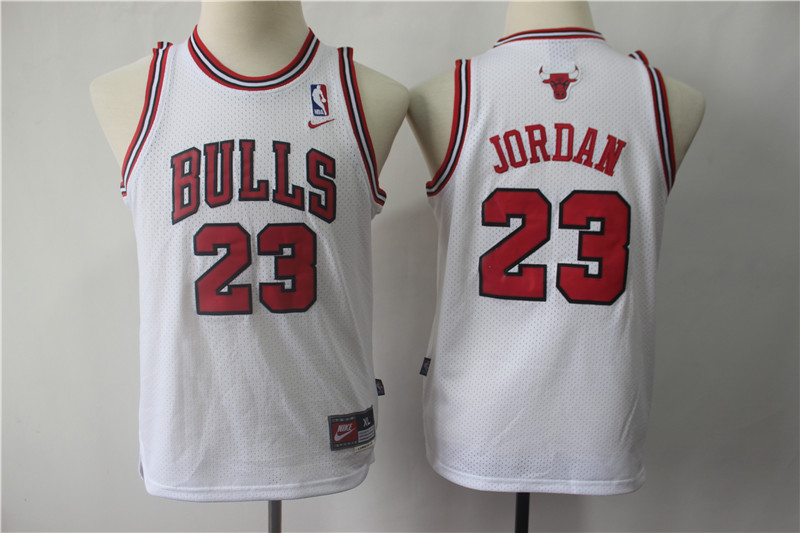 Bulls 23 Michael Jordan White Youth Throwback Nike Swingman Jersey