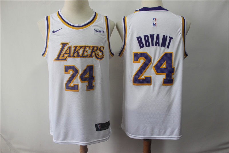 Lakers 24 Kobe Bryant White 2018-19 Nike Swingman Jersey
