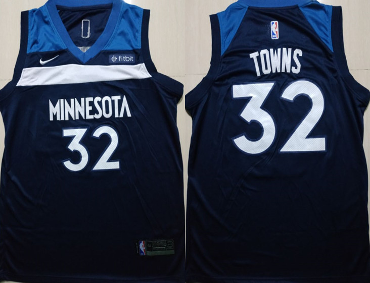 Timberwolves 32 Karl-Anthony Towns Navy Nike Swingman Jersey