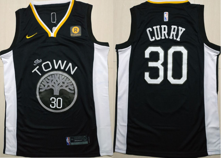 Warriors 30 Stephen Curry Black Statement Nike Swingman Jersey