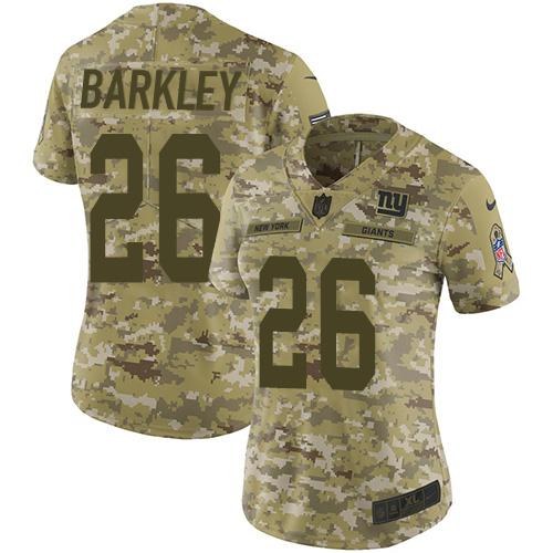 Nike Giants 26 Saquon Barkley Camo Women Salute To Service Limited Jersey