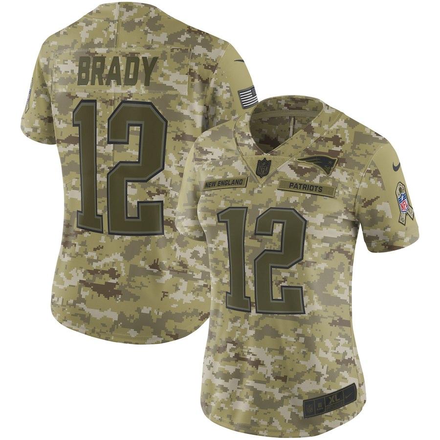 Nike Patriots 12 Tom Brady Camo Women Salute To Service Limited Jersey