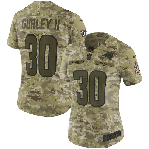 Nike Rams 30 Todd Gurley II Camo Women Salute To Service Limited Jersey