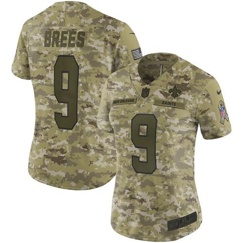 Nike Saints 9 Drew Brees Camo Women Salute To Service Limited Jersey
