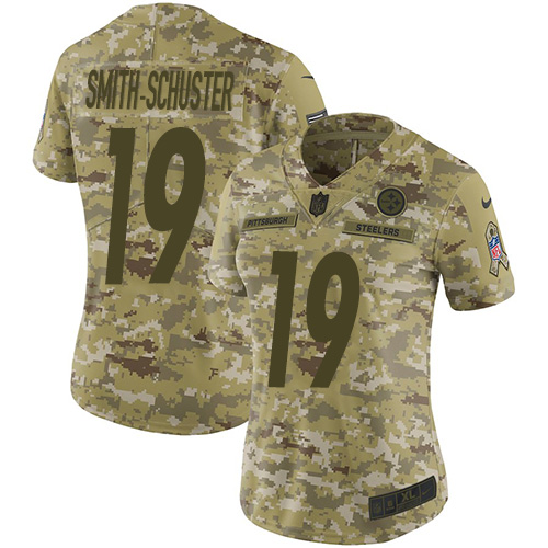 Nike Steelers 19 JuJu Smith-Schuster Camo Women Salute To Service Limited Jersey