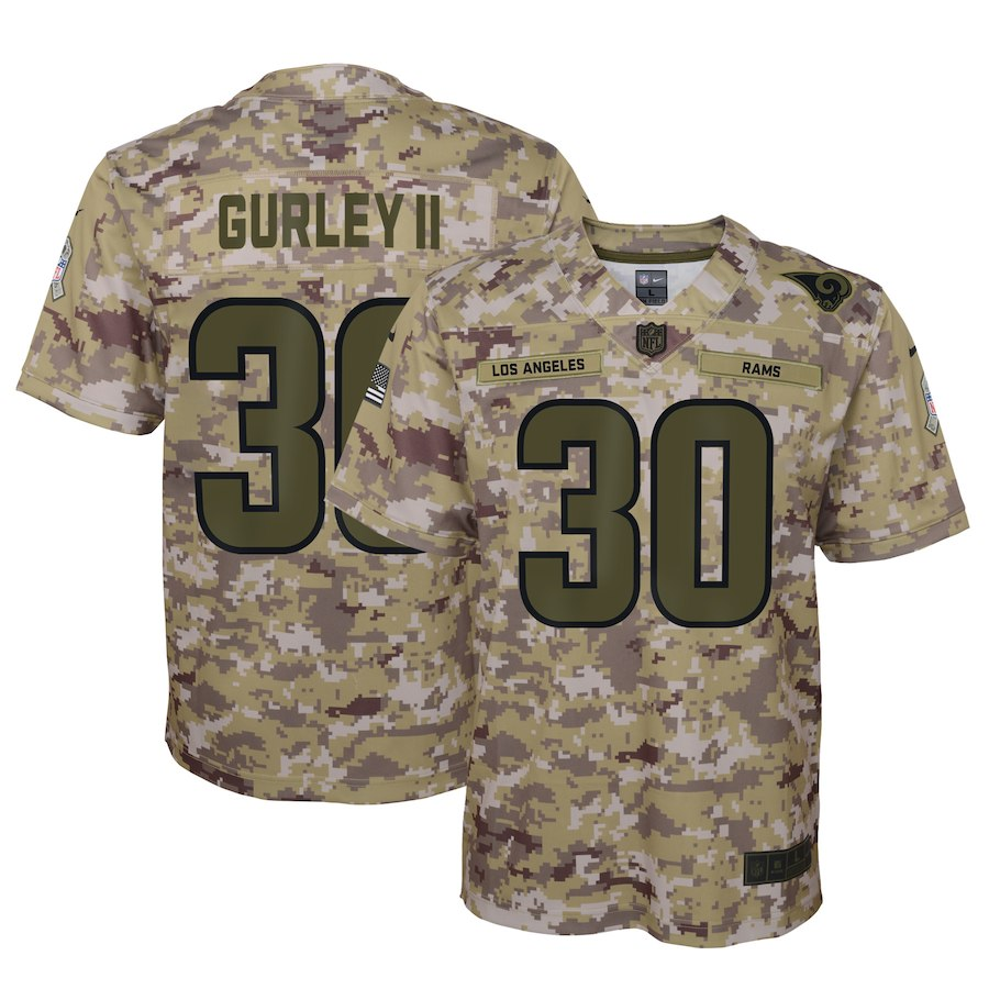 Nike Rams 30 Todd Gurley II Camo Youth Salute To Service Limited Jersey