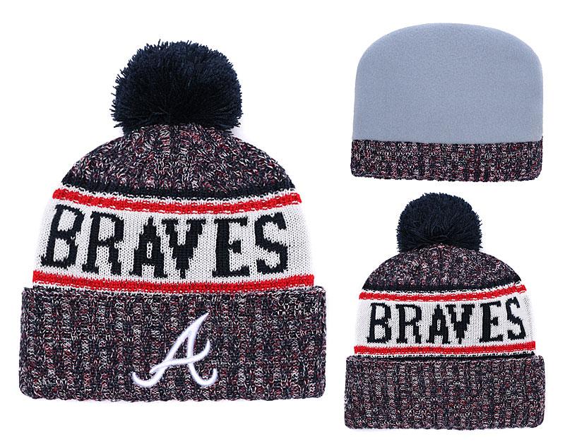 Braves Team Logo Fashion Pom Knit Hat YD