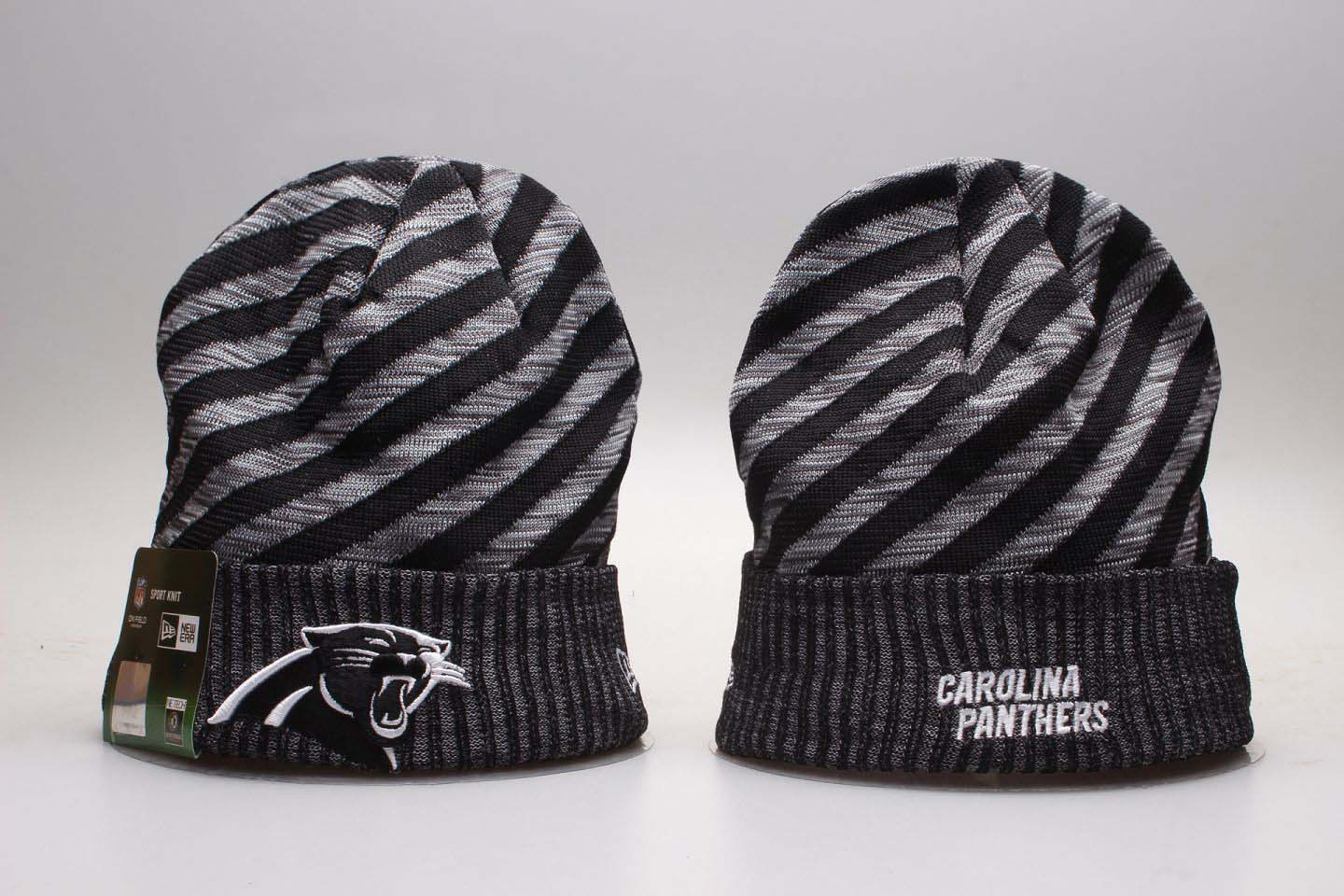 df837af37c0 Panthers Fresh Logo Black Stripe Cuffed Knit Hat YP