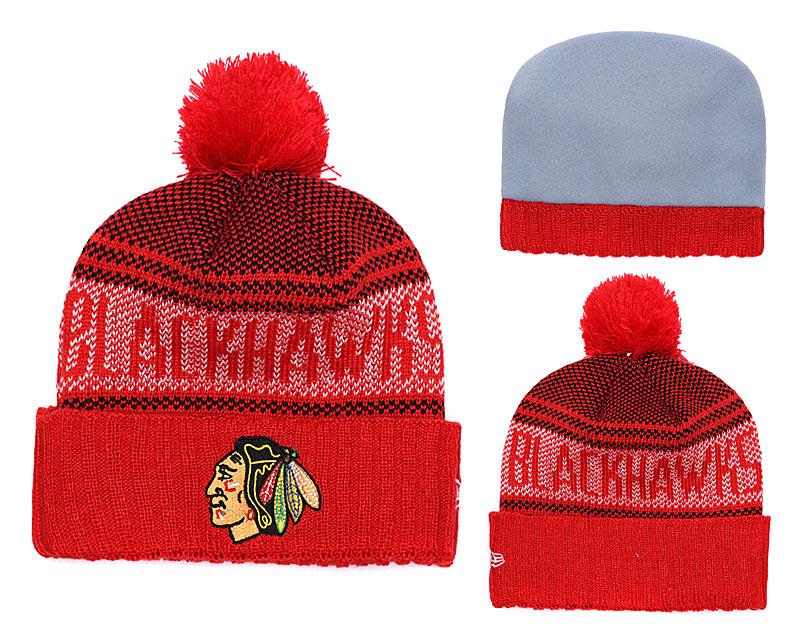Blackhawks Team Logo Red Knit Hat YD