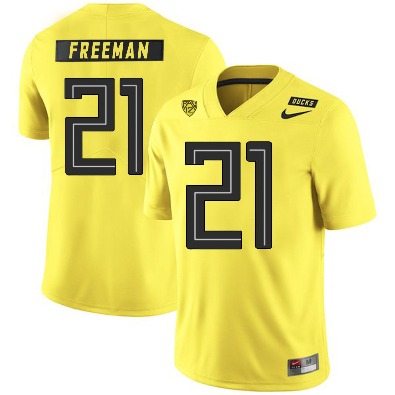 Oregon Ducks 21 Royce Freeman Yellow Nike College Football Jersey