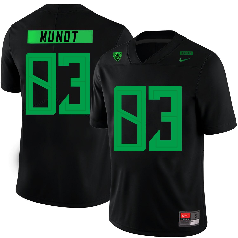 Oregon Ducks 83 Johnny Mundt Black Nike College Football Jersey
