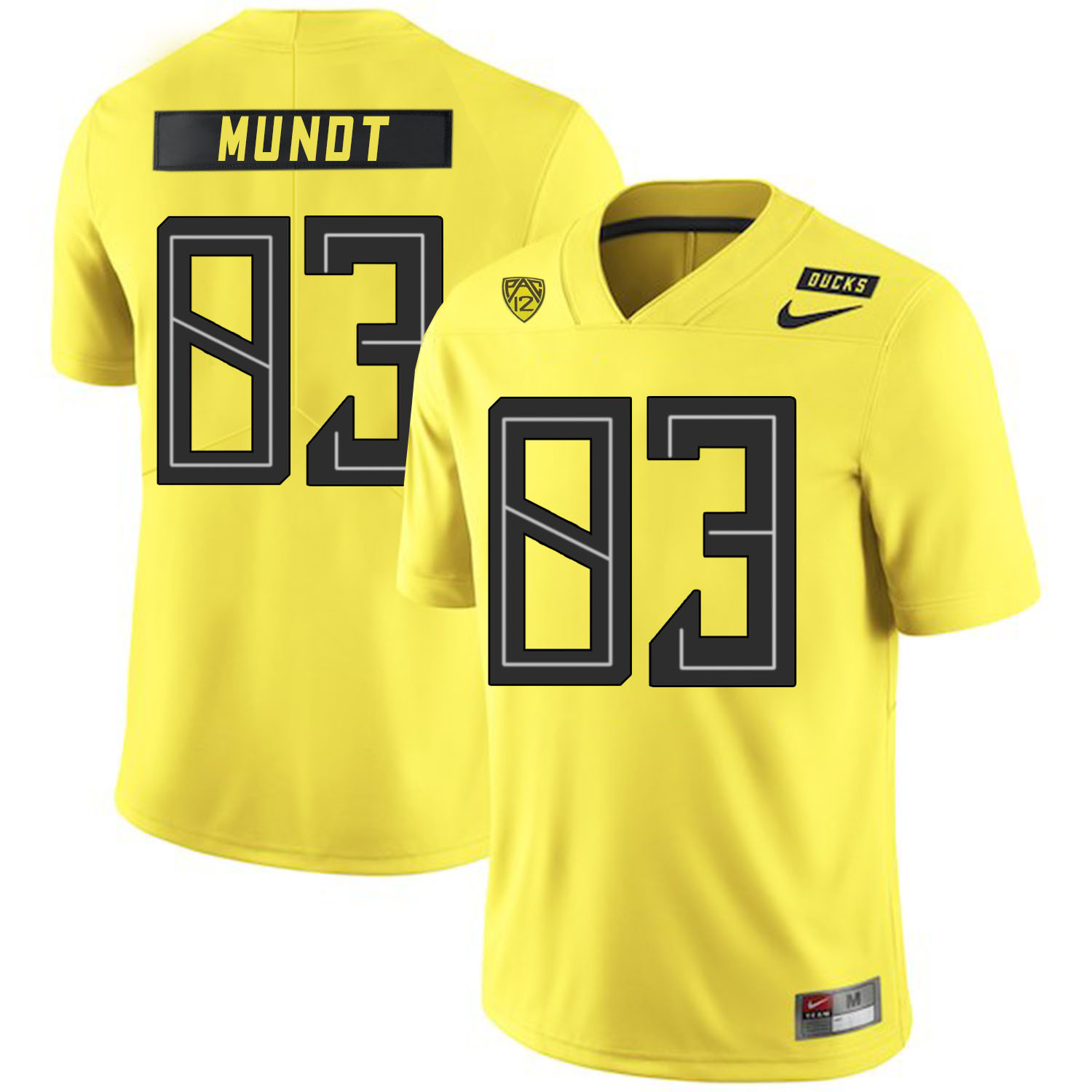 Oregon Ducks 83 Johnny Mundt Yellow Nike College Football Jersey