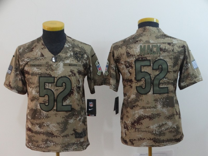 Nike Bears 52 Khalil Mack Camo Youth Salute To Service Limited Jersey