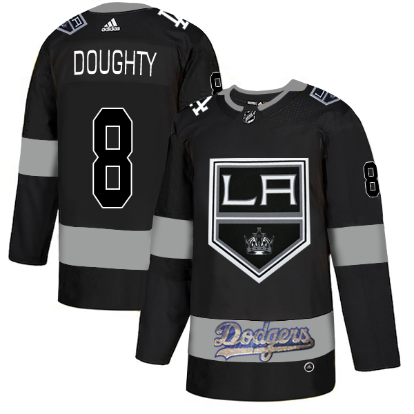 LA Kings With Dodgers 8 Drew Doughty Black Adidas Jersey