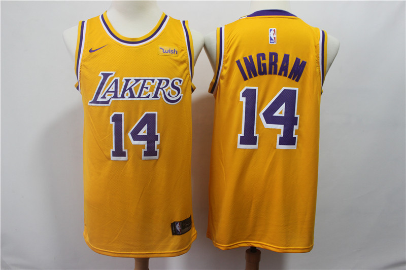 Lakers 14 Brandon Ingram Gold 2018-19 Nike Swingman Jersey
