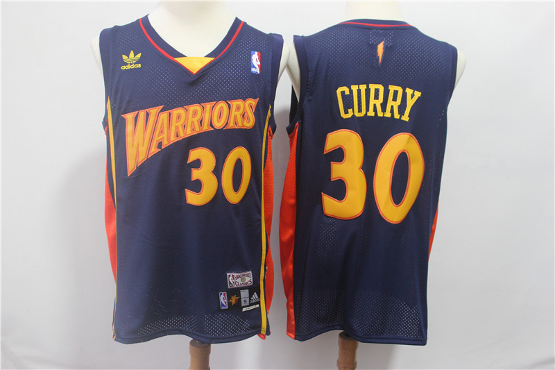Warriors 30 Stephen Curry Navy Hardwood Classics Jersey