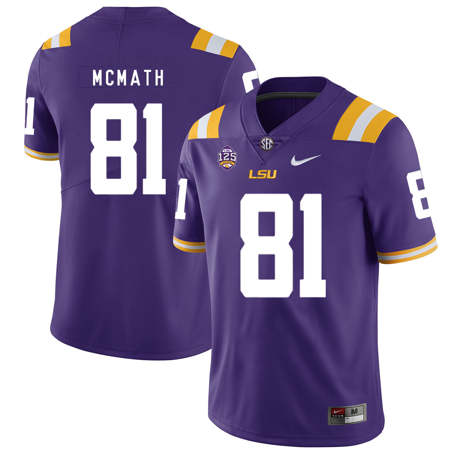 LSU Tigers 81 Racey Mcmath Purple Nike College Football Jersey