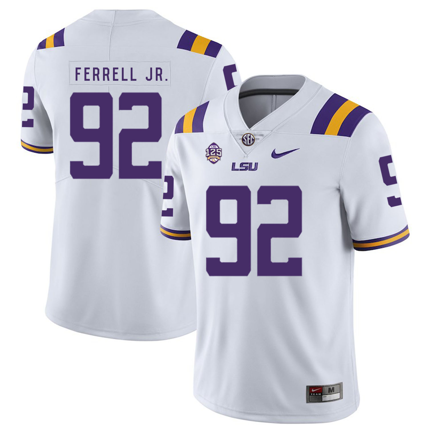 LSU Tigers 92 Neil Ferrell Jr. White Nike College Football Jersey